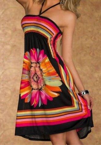 dress colorful trendy beautiful fashion black sexy cute girly boho halter neck floral tie dye girly dress bohomian floral dress