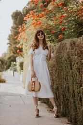 jeans and a teacup,blogger,dress,shoes,bag,jewels,sunglasses,white dress,midi dress