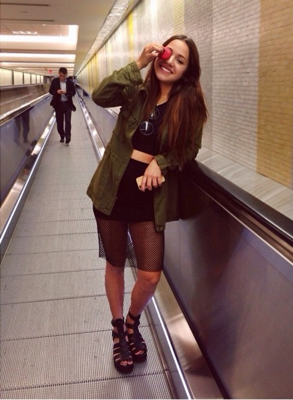 skirt mesh mesh skirt shoes open shoes green glasses sunglasses army green jacket jacket
