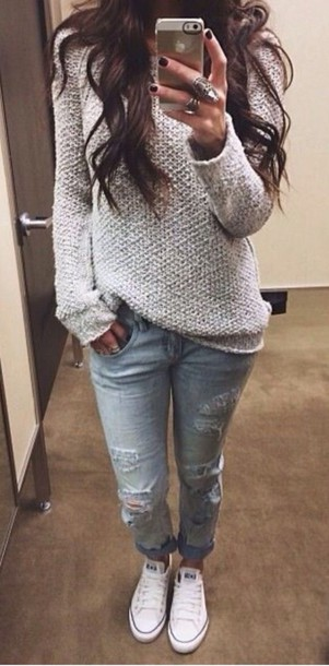 jeans jewelry sweater sneakers