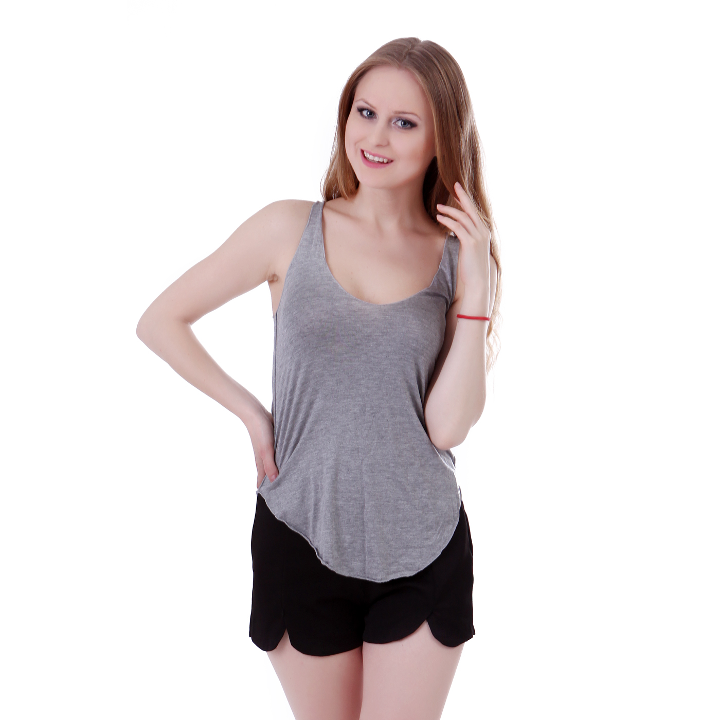 Loose Sleeveless V-Neck Grey Tank Top