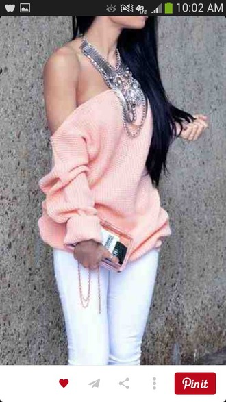 sweater pink sweater off the shoulder sweater sexy sweater cute sweater fashion