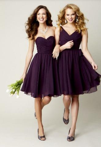 dress purple dress stapless plum bridesmaid