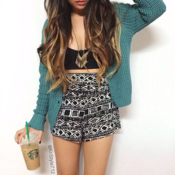 mosaic shorts crop tops sweater