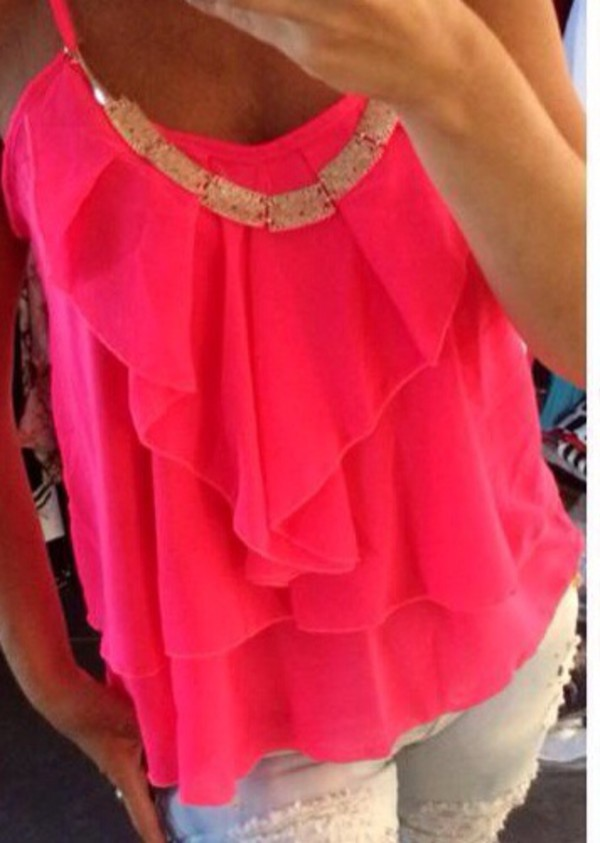 top neon pink blouse