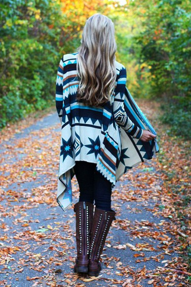 cardigan tribal pattern tribal cardigan sweater shoes aztec blue black white pullover boots tall boots