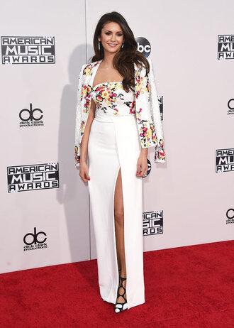 dress blazer jacket gown prom dress slit dress red carpet dress nina dobrev amas 2015 pumps floral dress bustier dress strapless dress shoes