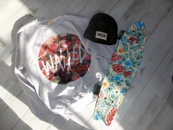 kaki floral hipster pink hat skate globe wasted beanie blue vientage rose sweat paris sunglasses sweater