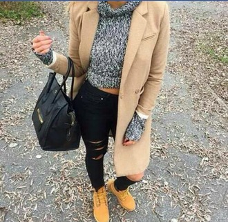 coat timberlands black jeans sweater grey black purse fall outfits urban