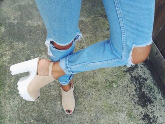 wedges high heels peep toe cream jeans