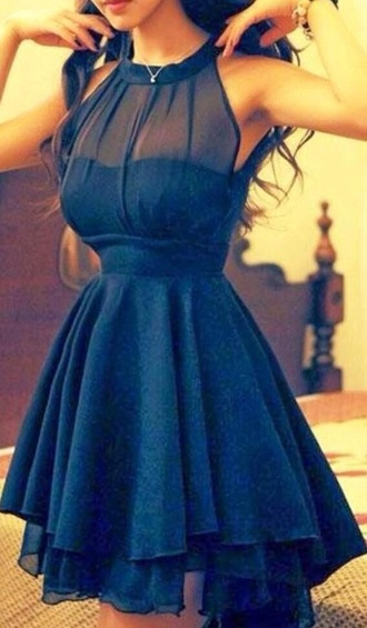 dress navy blue dress sheer halter dress