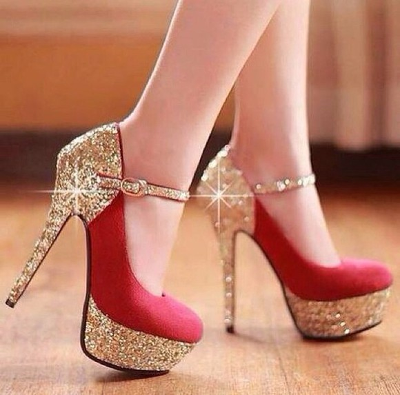shiny shoes shoes gold red color, look, shines