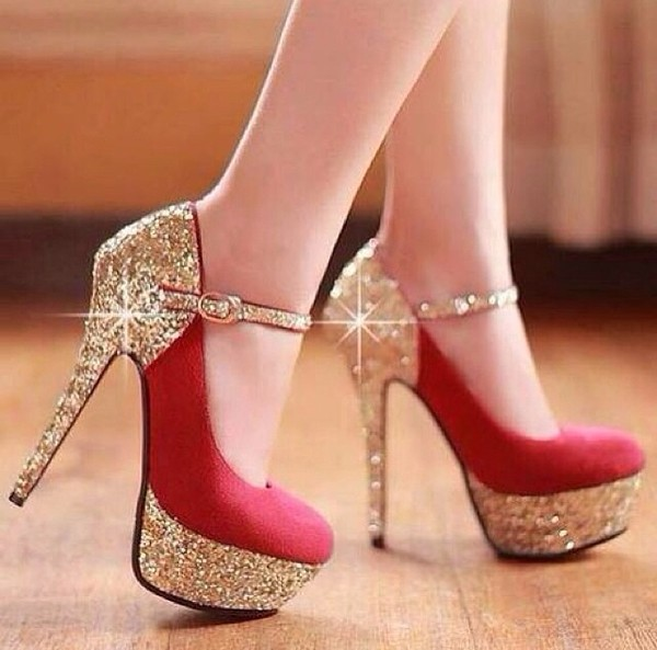 shoes gold shiny shoes red colorful look shines
