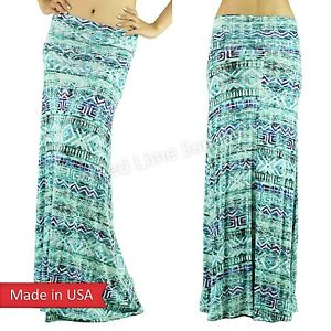 New Teal Jade Green Blue Tie Dye Ombre Color Fold Over Soft Long Maxi Skirt USA