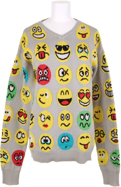 Jeremy Scott Emoticon Cotton Knit Jumper in Multicolor (red) | Lyst