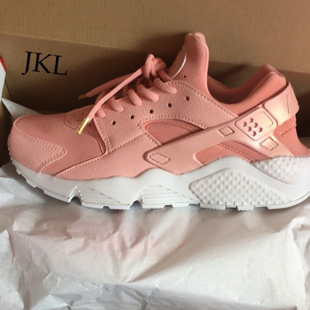 Shoes Custom Nike Huarache Rose Gold Pearl Pink Pink