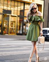 dress,green dress,tumblr,mini dress,off the shoulder,off the shoulder dress,sandals,sandal heels,high heel sandals,sunglasses,shoes