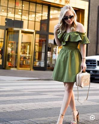 dress green dress tumblr mini dress off the shoulder off the shoulder dress sandals sandal heels high heel sandals sunglasses shoes
