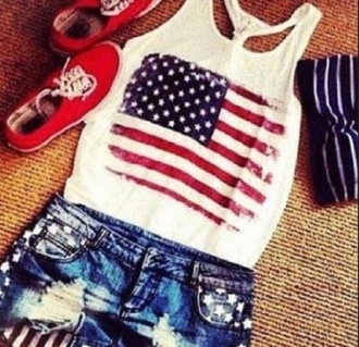 shirt american flag tank top shorts