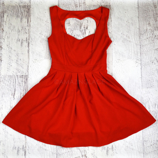 Dress: red heart valentines day dress, red, heart, open, back ...