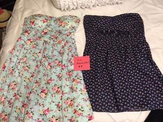 dress floral dress blue dress mini dress strapless dress