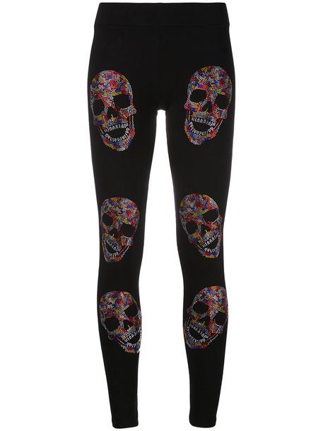 PHILIPP PLEIN leggings women spandex cameo cotton black pants