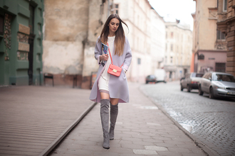 fashion agony blogger coat grey boots knee high boots top shoes bag