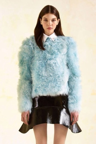sweater fur blue leather faux fur faux girl top jumper shirt pastel skirt high fashion editorial fashion model
