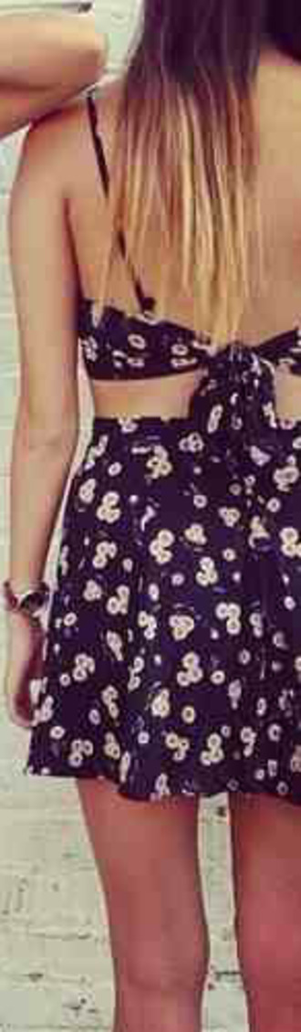 little black dress floral dress bow back dress summer dress