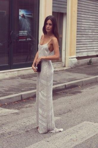 dress silver strap maxi dress