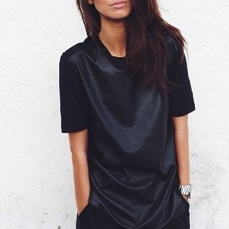 dress black blouse maxi dress cuir shirt pleather
