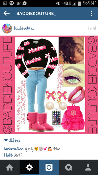 moschino ugg boots mcm baddiekouture_ outfit outifit ideas outfit idea bag jewels top
