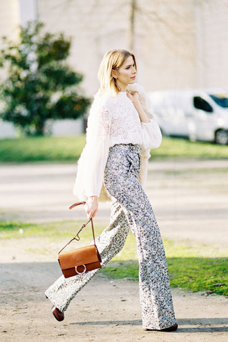 vanessa jackman blogger blouse flare pants white lace top printed pants