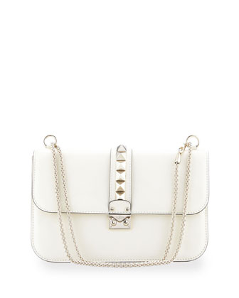 Valentino Rockstud-Trim Lock Flap Bag, Ivory
