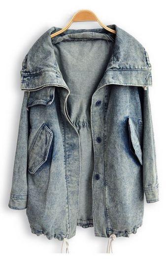 Blue Lapel Long Sleeve Pockets Denim Trench Coat -SheIn(Sheinside)