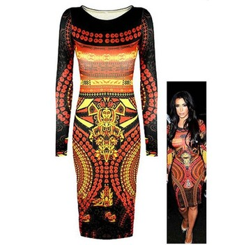 print dress evening dress bandage dress vintage novelty dress stars style long sleeve dress vintage dress clubwear suit celebrity style dress kim kardashian dress