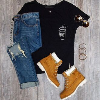 t-shirt booties white cute ripped jeans light brown casual edgy lazy day outfit timberlands black t-shirt coffee sunglasses