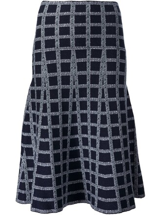 skirt women spandex blue wool pattern grid
