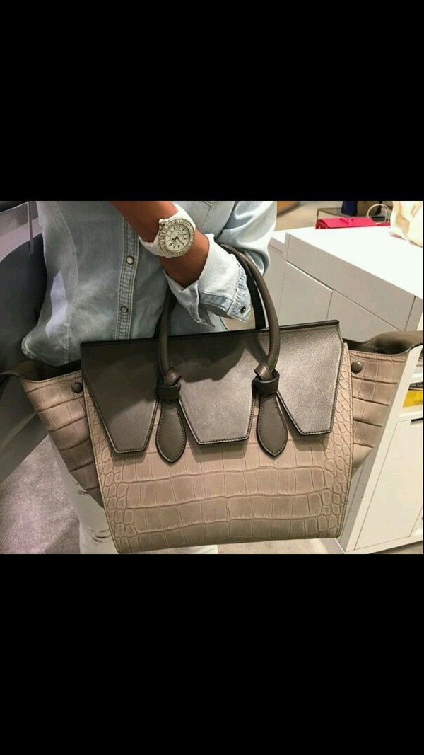 replica celine handbag - celine tie bag - grey nubuck