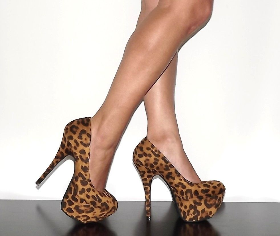 Womens High Heels Platform Pump Tan Leopard Print Fuax Suede Dollhouse Kitty | eBay