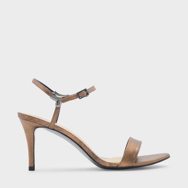 heel open sandals bronze shoes