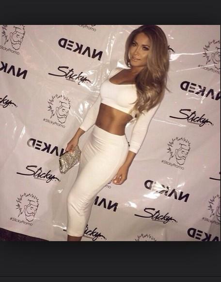 long sleeve dress white dress coordinates midi skirt belly top