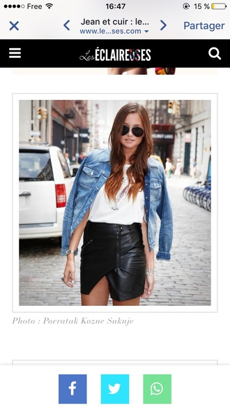 skirt zip-up skirt wrap skirt black leather skirt leather skirt black skirt mini skirt asymmetrical skirt top white top zip zipped skirt denim jacket black jacket sunglasses streetstyle