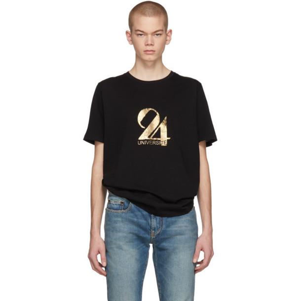 Saint Laurent Black & Gold '24 Université' T-Shirt