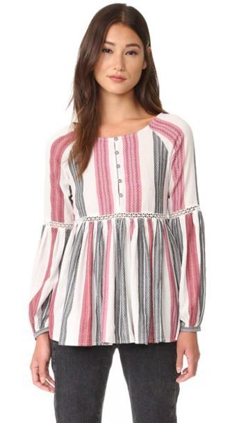 Rahicali Alexa Peasant Top - Stripes