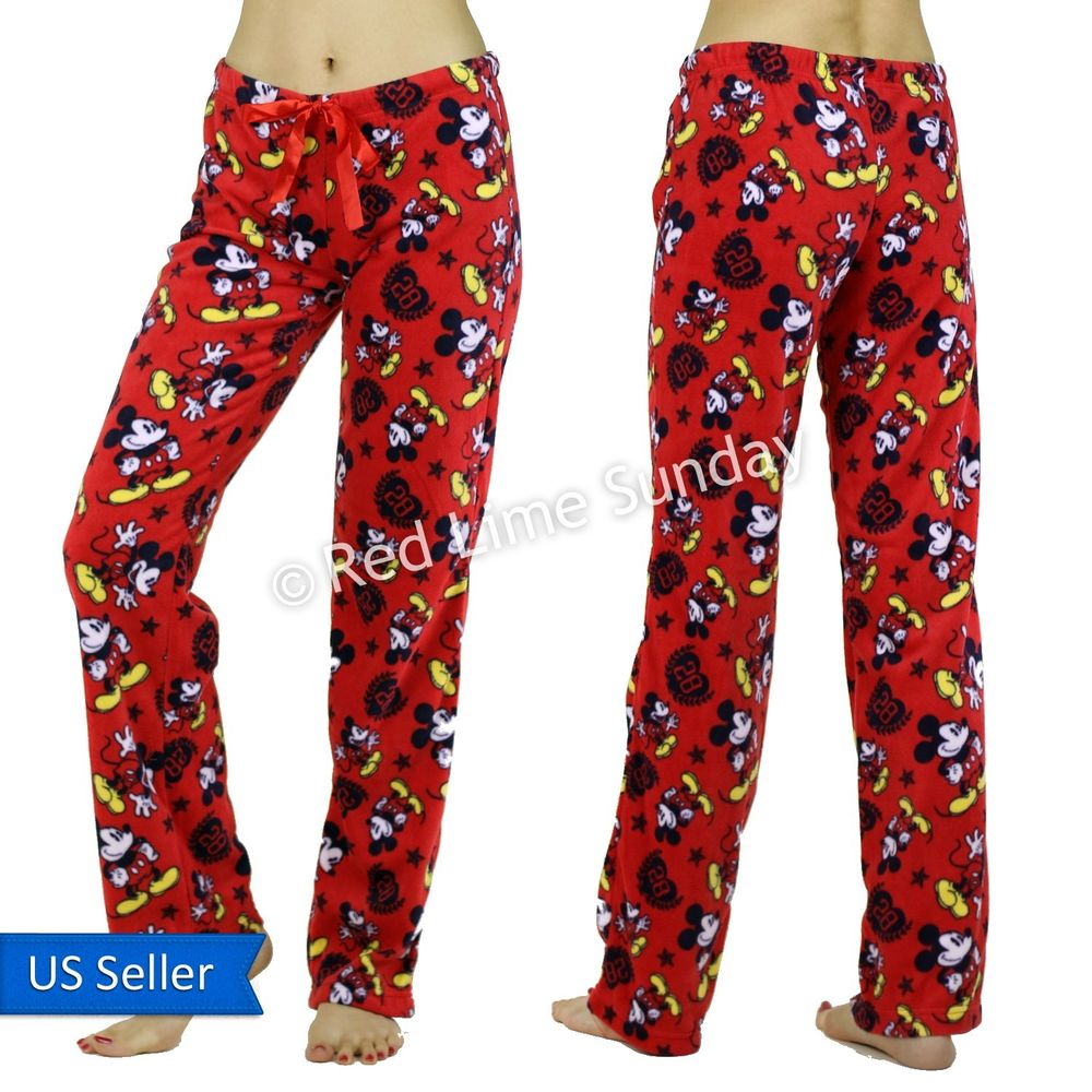 Women Comfy Disney Mickey Mouse 28 Fleece Red PJ Room Wear Casual Pants Bottoms
