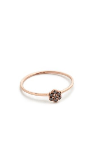 rose gold rose ring gold black jewels