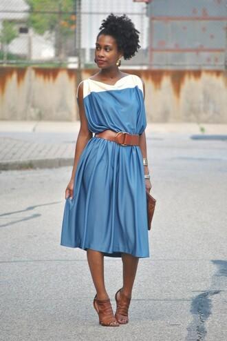 vintage blue dress white dress colorblock dress