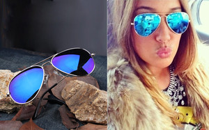 A Full Blue Mirrored Aviator Sunglasses Women Dark Tint Lens Silver