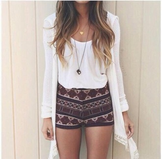 shorts aztec white shirt high waisted cardigan love cute boho hipster